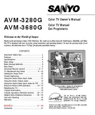 SANYO AVM3680G TV/ Television download manual for free now